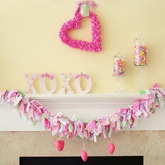 Gorgeous pink theme mantel decoration.