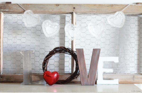 Gorgeous rustic LOVE letters Valentine's day mantel decoration.