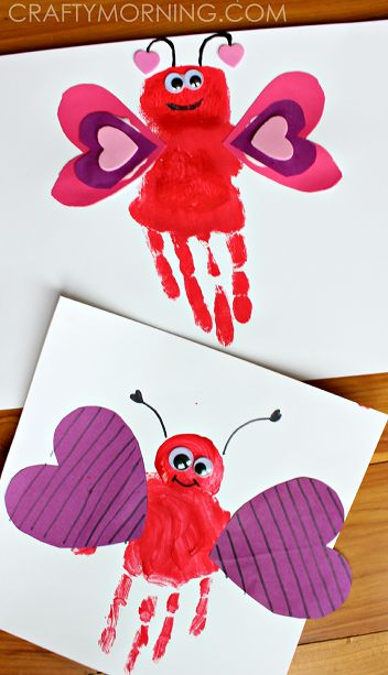 Graceful hand print love bug Valentines day craft.