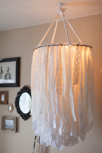 Handmade cloth chandelier for bedroom.