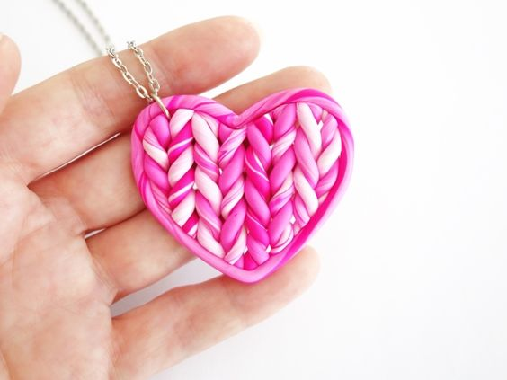 Handmade heart shape knitted accessories.