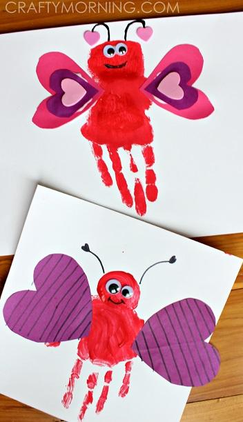 Handprint love bug craft for kids.