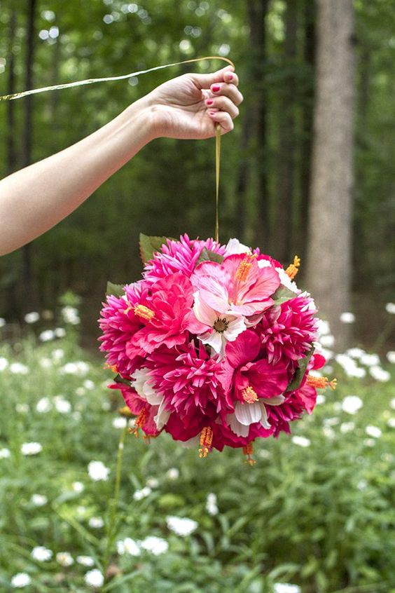 Hanging flower ball for Valentines day party decor.