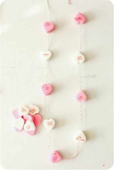 Heart candy as garland.