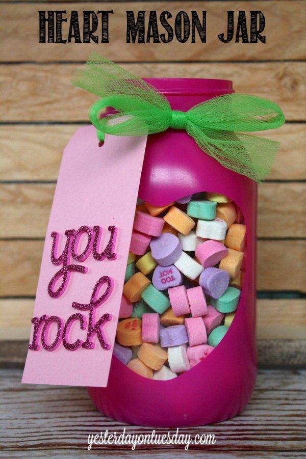 Heart candy mason jar.