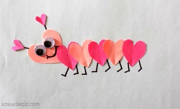 Heart caterpillar craft for kids.