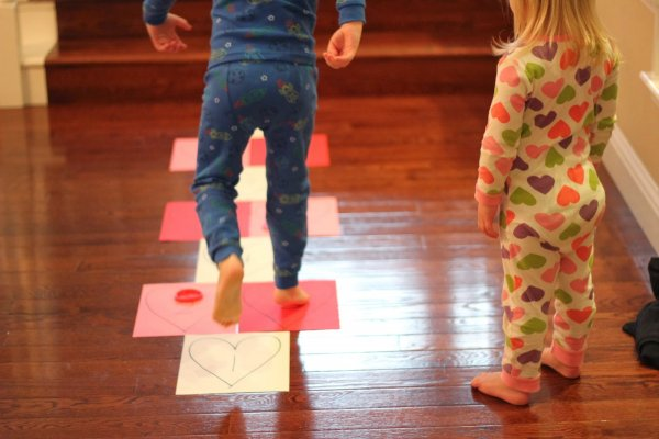 Heart hopscotch game for kids.