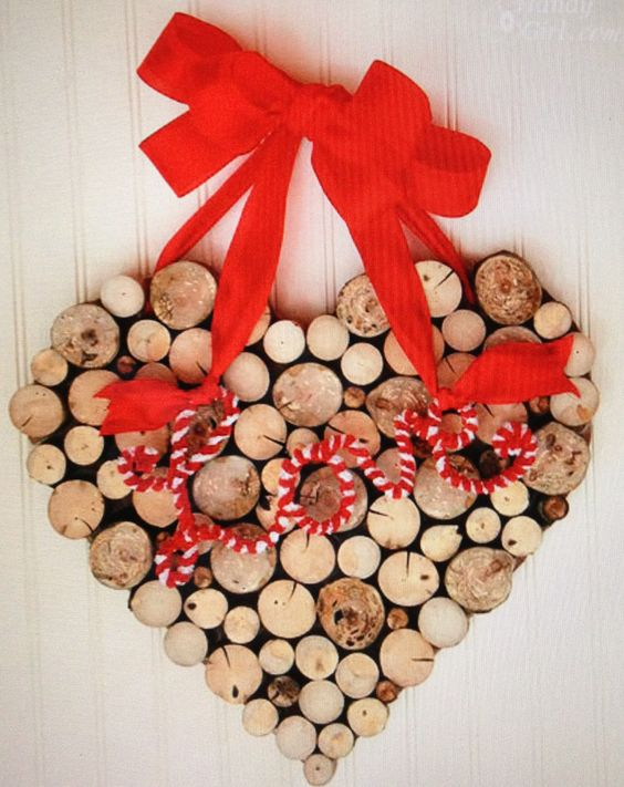 Heart shape cork wreath with red ribbon.