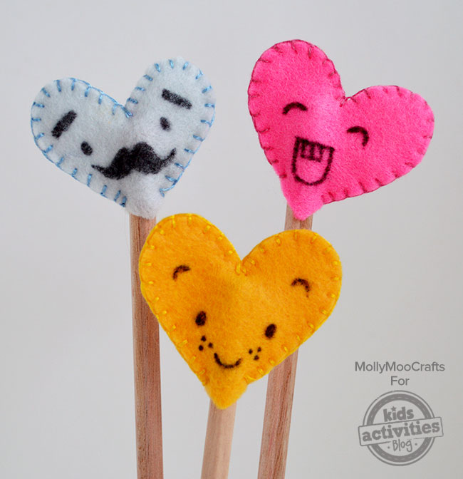Heart shape felt pencil topper for kids.
