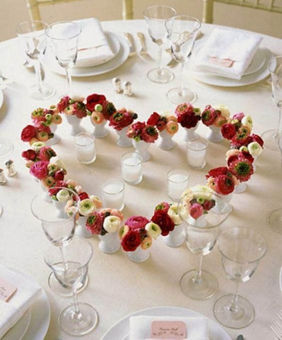Heart shape fresh flower centrepiece decoration idea.
