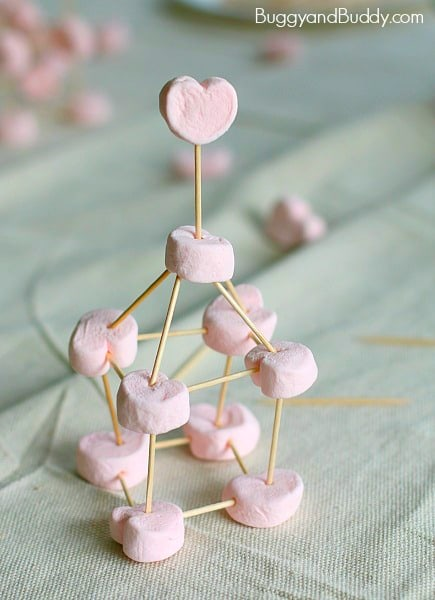 Heart shaped marshmallows and toothpicks cool structures is a fun activity for your kids.
