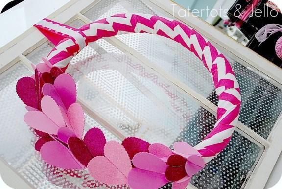 Hot pink chevron and glitter heart Valentine wreath.