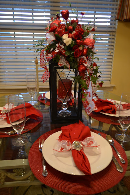 Lantern is used as centerpiece for Valentine's day.