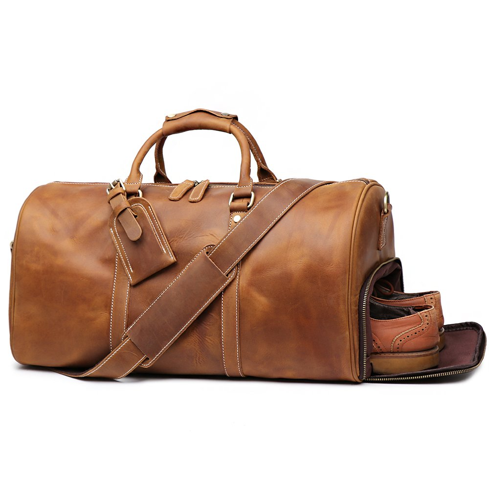 Leather luggage bag.
