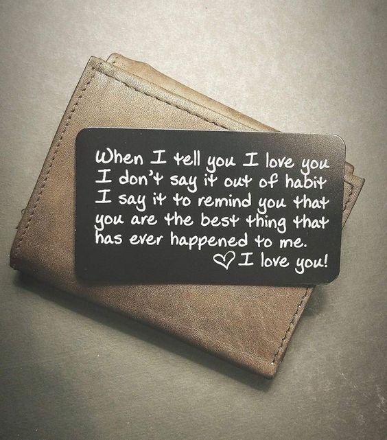 Leather wallet with personalised card.