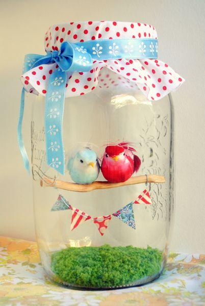 Love bird inside mason jar.