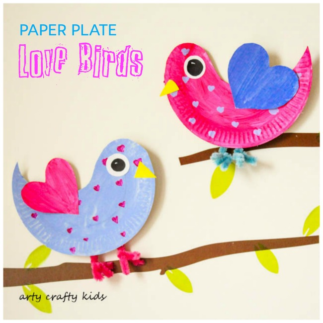 Love birds made by paper plate.