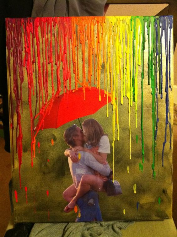Love in rain melted crayons art.
