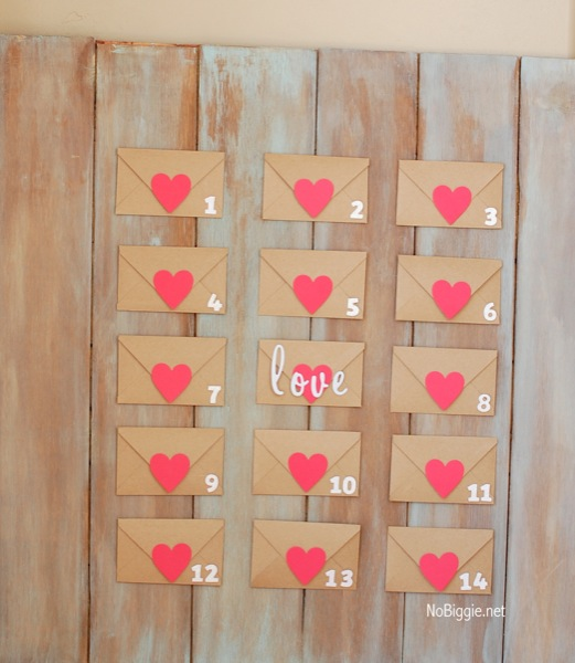 Love letters countdown with heart sealed.