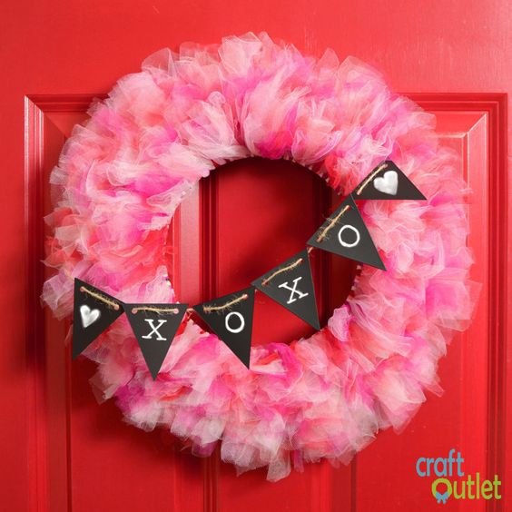 Lovely deco mesh wreath with XO banner.