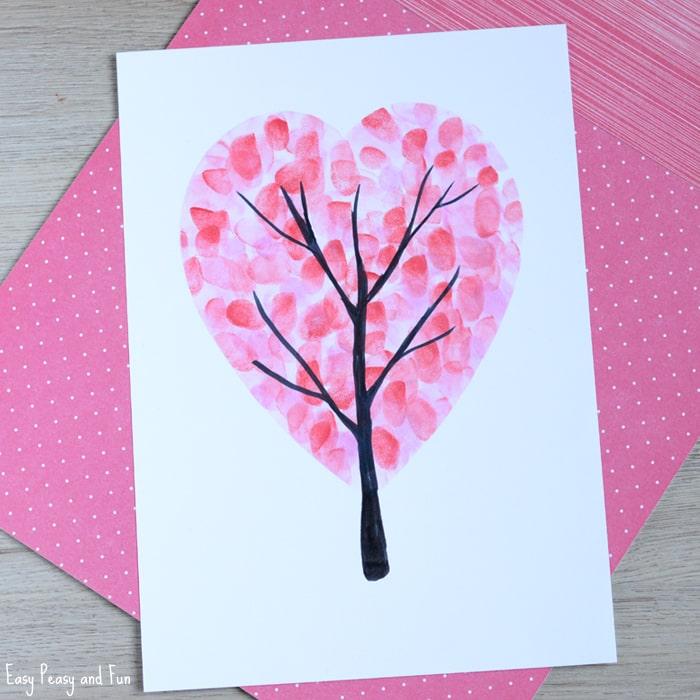 Lovely heart shape Valentines day fingerprint tree.