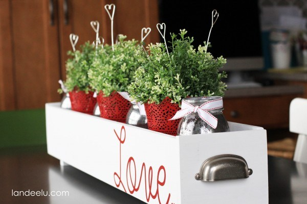 Lovely plants with wire hearts.