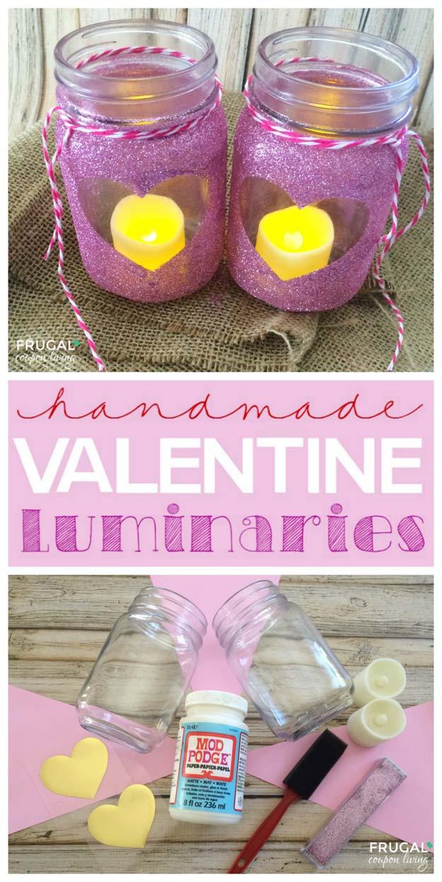 Luminaries mason jar for Valentines day.