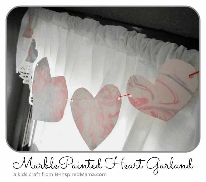 Marble painted heart garland.