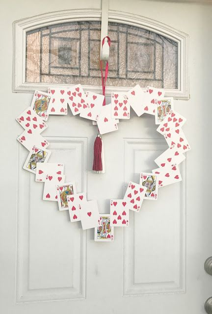 Marvelous playing card valentine day wreath.
