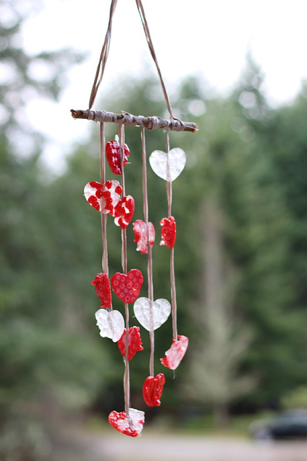 Melted bead heart wind chimes.