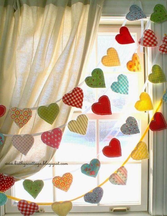 Multi strand colourful fabric hearts garland.