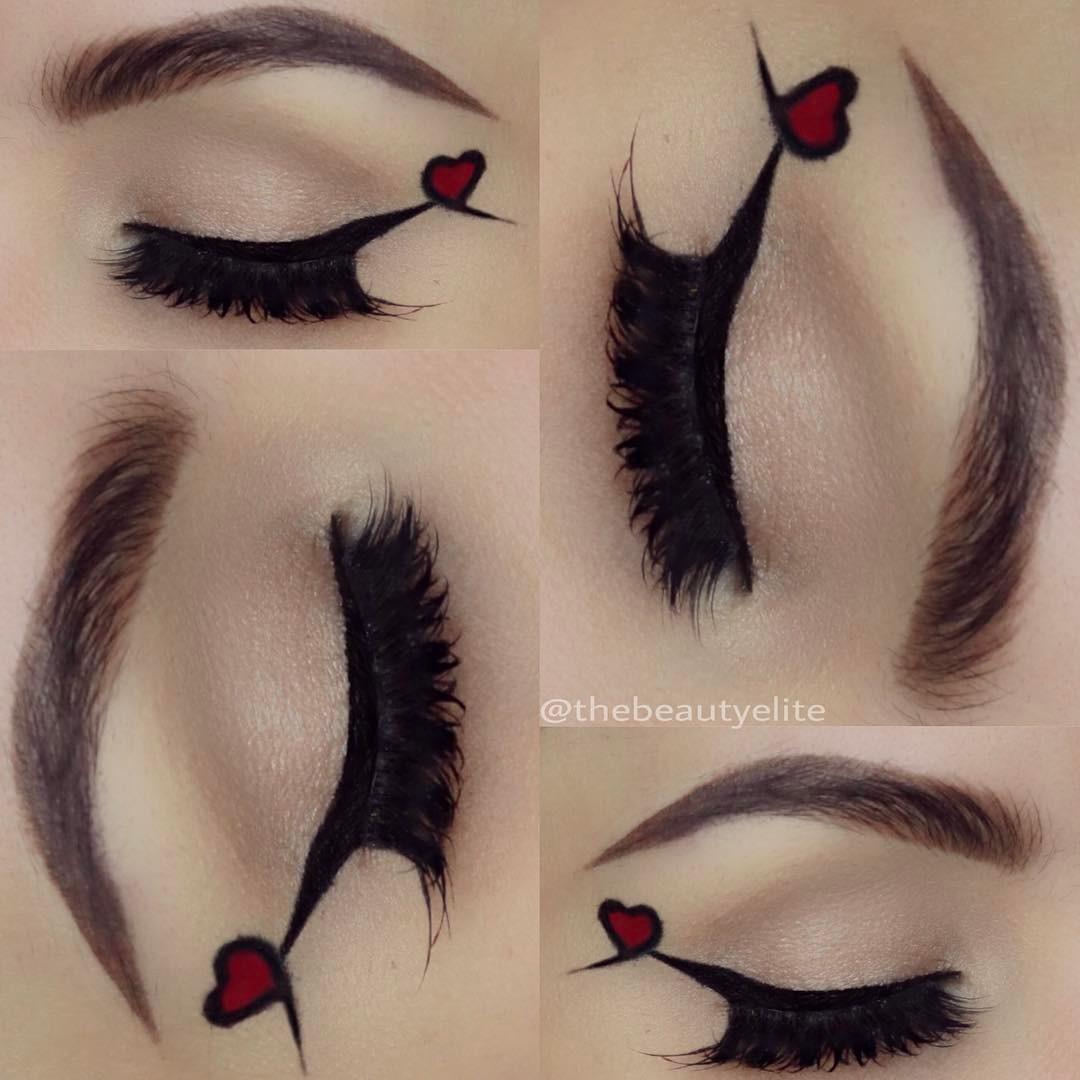 Natural romantic heart eye makeup.