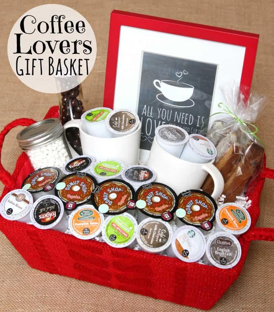 Nice coffee lover gift basket.