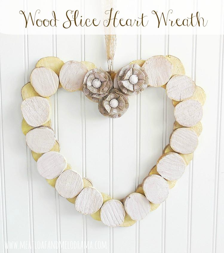 Nice wood slice heart wreath.