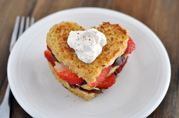 Nutella and strawberry stuffed heart shaped french toast.