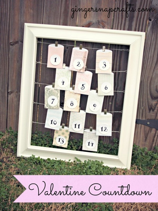Old frame is used as Valentine's day calendar.