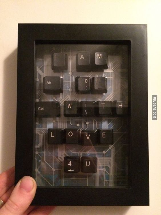 Old keyboard keys to write your message, stick it on a cardboard and frame it.