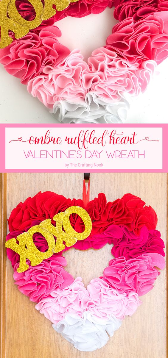 Ombre ruffled heart valentine day wreath.