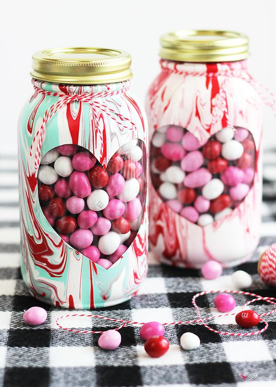 Painted marbles in mason jar.