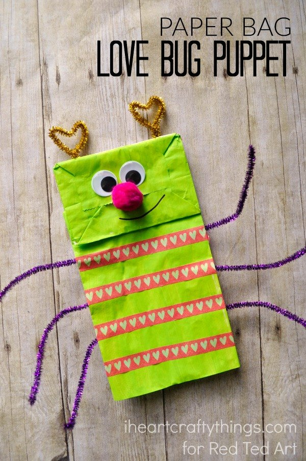 Paper bag love bug puppet.