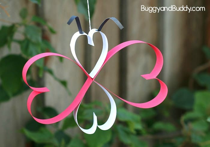 Paper heart butterfly for Valentines day.