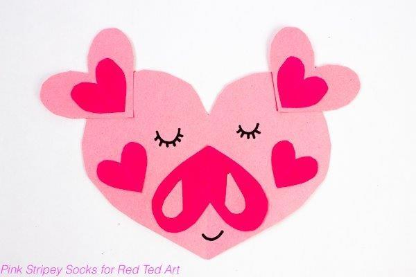 Paper heart pig for kids.