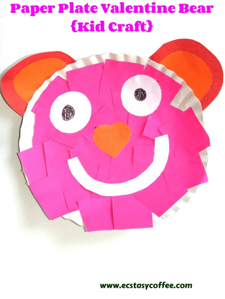 Paper plate Valentines day bear craft.
