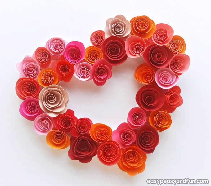 Paper rose heart wreath.