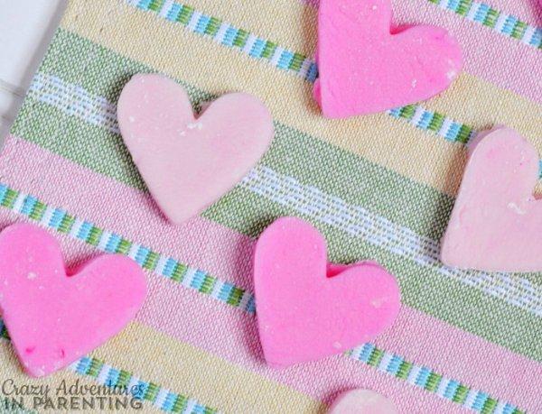 Peppermint cream cheese hearts.