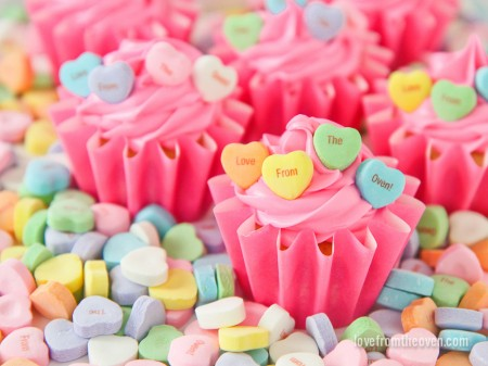 Perfect Valentines day cupcakes with conversation hearts.