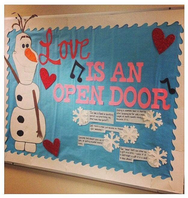 Perfect love is an open door olaf bulletin board.