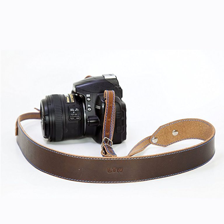 Personalized Camera Strap in Leather Brown.