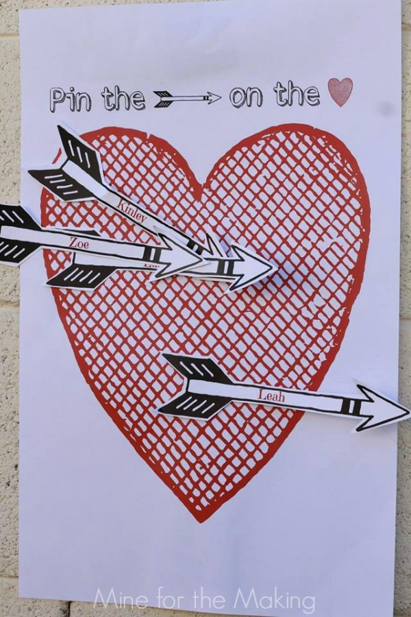 Pin the arrow on the heart game.