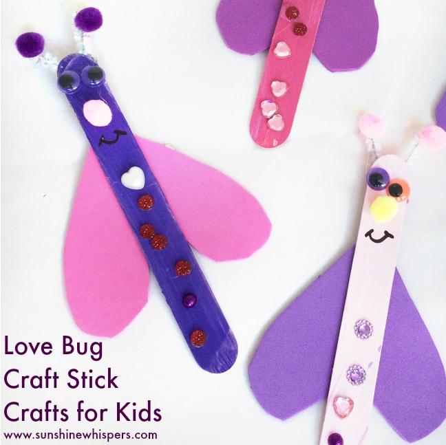 Pink and purple love bird craft sticks craft for kids.